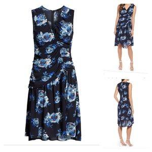Blue Halogen Shirred Floral Dress